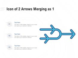 Icon Of 2 Arrows Merging As 1