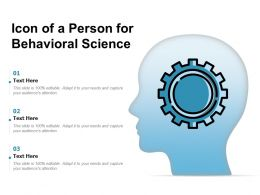 Icon Of A Person For Behavioral Science