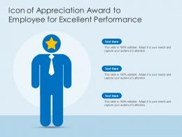 Icon Of Appreciation Award To Employee For Excellent Performance