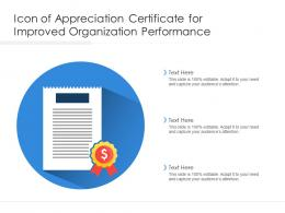 Icon Of Appreciation Certificate For Improved Organization Performance