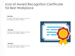 Icon Of Award Recognition Certificate For Best Workplace