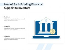 Icon Of Bank Funding Financial Support To Investors