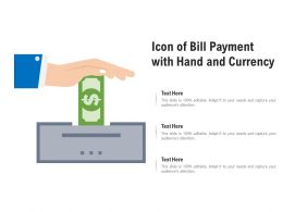 Icon Of Bill Payment With Hand And Currency