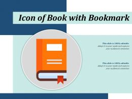 Icon Of Book With Bookmark