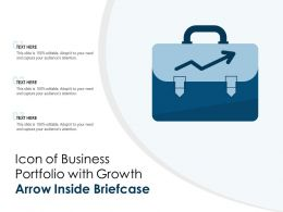Icon Of Business Portfolio With Growth Arrow Inside Briefcase
