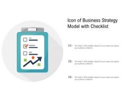 Icon Of Business Strategy Model With Checklist