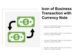 Icon Of Business Transaction With Currency Note
