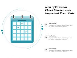 Icon Of Calendar Check Marked With Important Event Date
