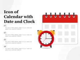 Icon Of Calendar With Date And Clock