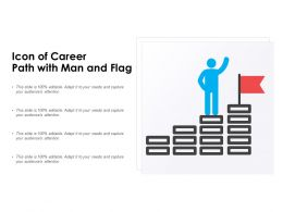 Icon Of Career Path With Man And Flag