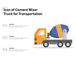 Icon Of Cement Mixer Truck For Transportation