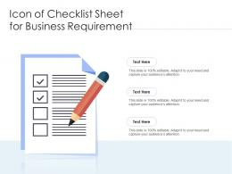 Icon Of Checklist Sheet For Business Requirement