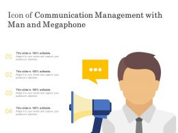 Icon Of Communication Management With Man And Megaphone