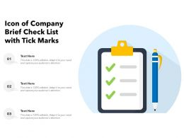 Icon Of Company Brief Check List With Tick Marks