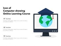 Icon Of Computer Showing Online Learning Course