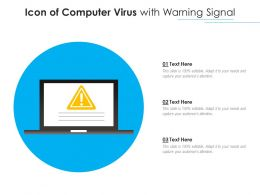 Icon Of Computer Virus With Warning Signal
