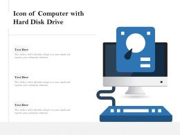 Icon Of Computer With Hard Disk Drive