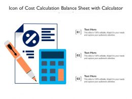 Icon Of Cost Calculation Balance Sheet With Calculator