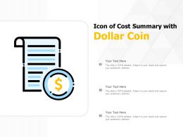 Icon Of Cost Summary With Dollar Coin
