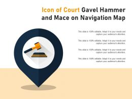 Icon Of Court Gavel Hammer And Mace On Navigation Map