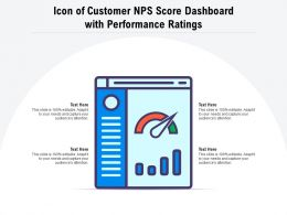 Icon Of Customer NPS Score Dashboard With Performance Rating