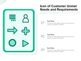 Icon Of Customer Unmet Needs And Requirements