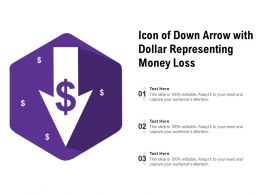 Icon Of Down Arrow With Dollar Representing Money Loss