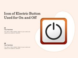 Icon Of Electric Button Used For On And Off