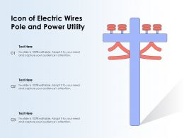 Icon Of Electric Wires Pole And Power Utility