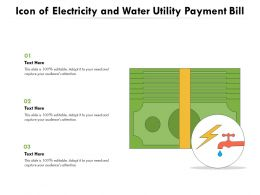 Icon Of Electricity And Water Utility Payment Bill