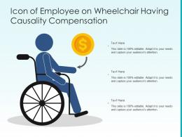 Icon Of Employee On Wheelchair Having Causality Compensation