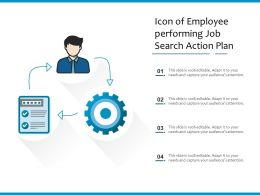 Icon Of Employee Performing Job Search Action Plan