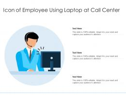 Icon Of Employee Using Laptop At Call Center