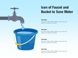Icon Of Faucet And Bucket To Save Water
