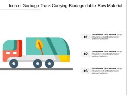 Icon Of Garbage Truck Carrying Biodegradable Raw Material