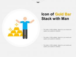 Icon Of Gold Bar Stack With Man