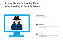 Icon Of Hacker Performing Cyber Attack Leading To Security Breach