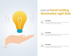 Icon Of Hand Holding Illuminated Light Bulb