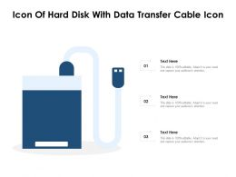 Icon Of Hard Disk With Data Transfer Cable Icon
