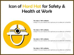 Icon Of Hard Hat For Safety And Health At Work