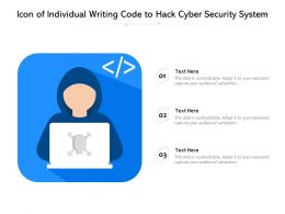 Icon Of Individual Writing Code To Hack Cyber Security System