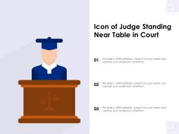 Icon Of Judge Standing Near Table In Court