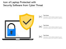 Icon Of Laptop Protected With Security Software From Cyber Threat