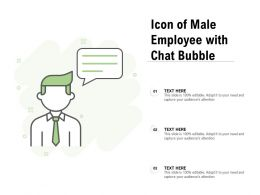 Icon Of Male Employee With Chat Bubble