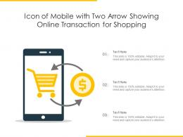 Icon Of Mobile With Two Arrow Showing Online Transaction For Shopping