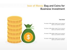 Icon Of Money Bag And Coins For Business Investment