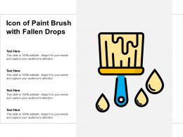 Icon Of Paint Brush With Fallen Drops