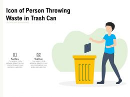 Icon Of Person Throwing Waste In Trash Can