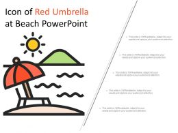 Icon Of Red Umbrella At Beach Powerpoint