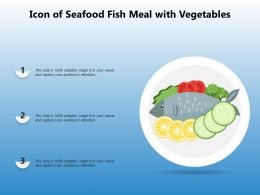 Icon Of Seafood Fish Meal With Vegetables